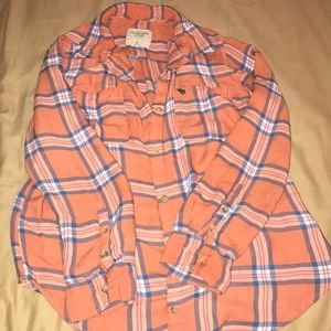 Abercrombie & Fitch orange plaid shirt
